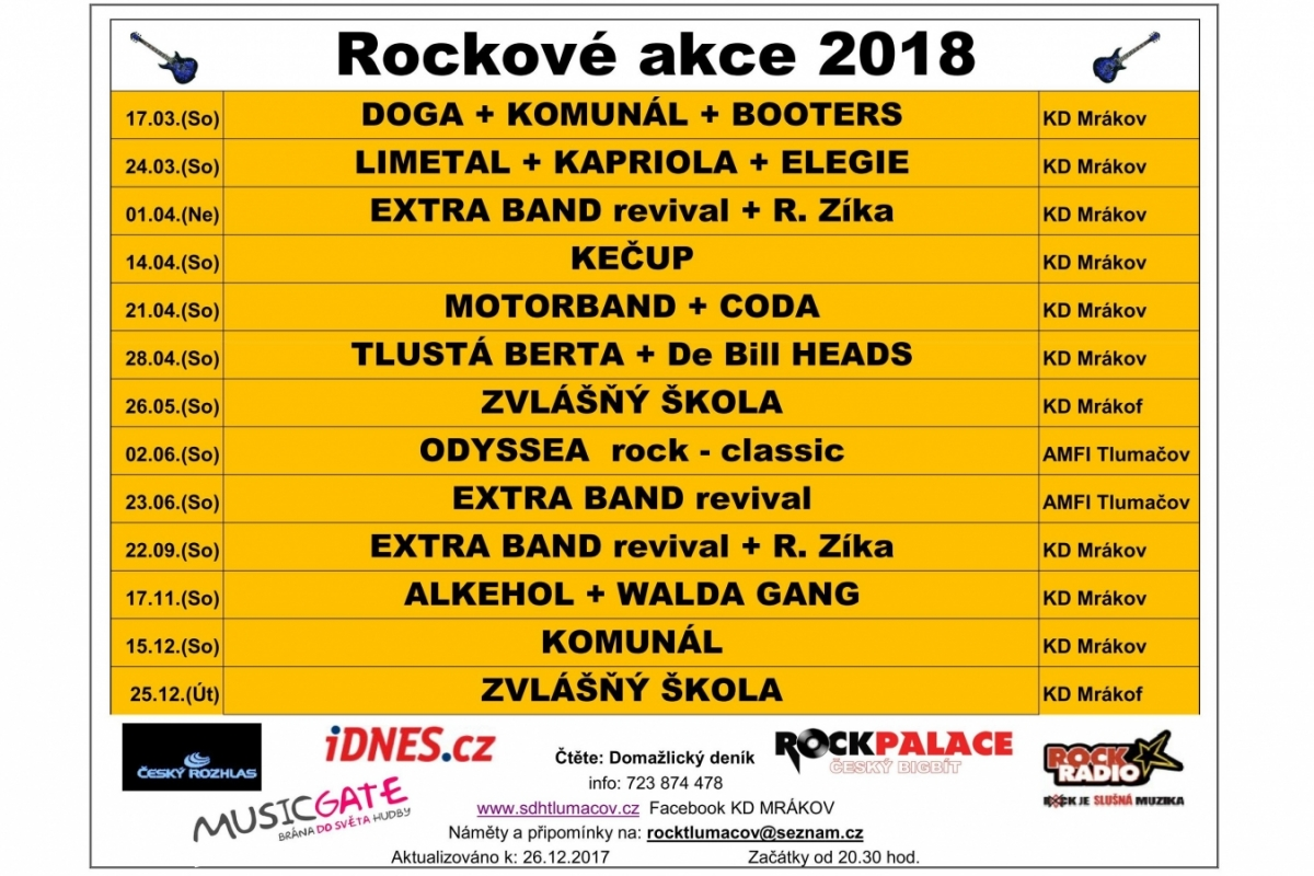 http://www.sifonrock.cz/  Rockové akce 2018 …