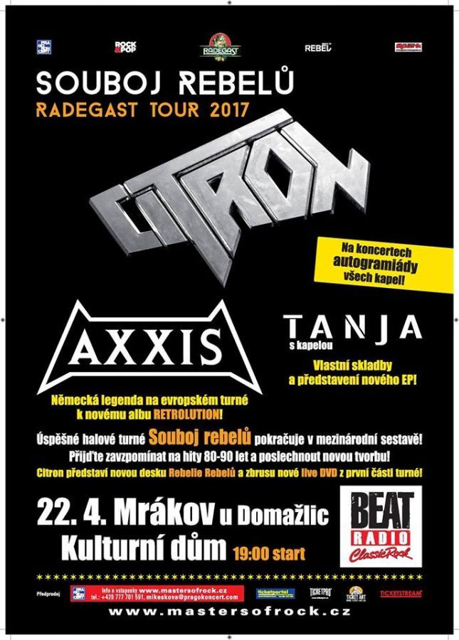 Soutěž o lístky na Citron, Tanja, Axxis do Mrákova