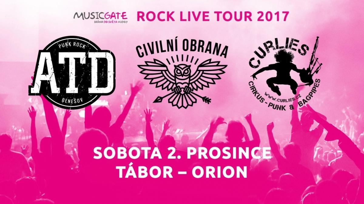 Soutěž o lístky na koncert skupin Civilní obrana, ATD, Curlies v rámci ROCK LIVE TOUR 2017 v Táboře!