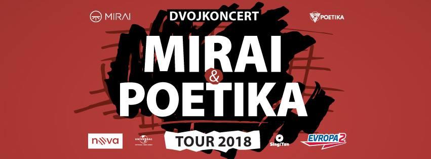 Na Velký pátek do Českých Budějovic zavítají kapely  v rámci MIRAI & POETIKA TOUR 2018