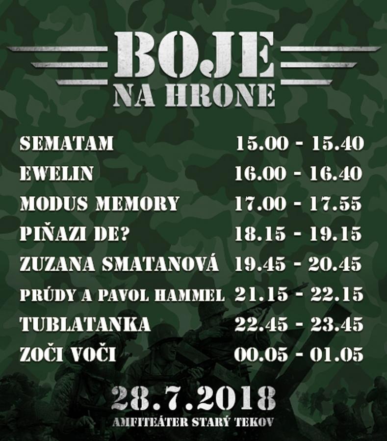 Na festivalu Boje na Hrone to roztočí kapely Tublatanka, Zoči Voči i Pavol Hammel a skupina Prúdy v nové sestavě