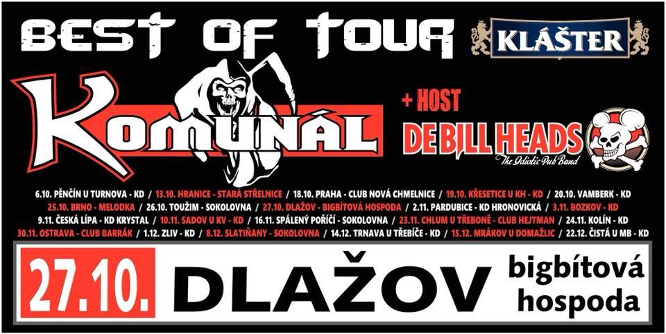 Komunál a jeho Best of tour 2018 potěší srdce všech západočeských fanoušků  v Dlažově! Jako host vystoupí  De Bill Heads