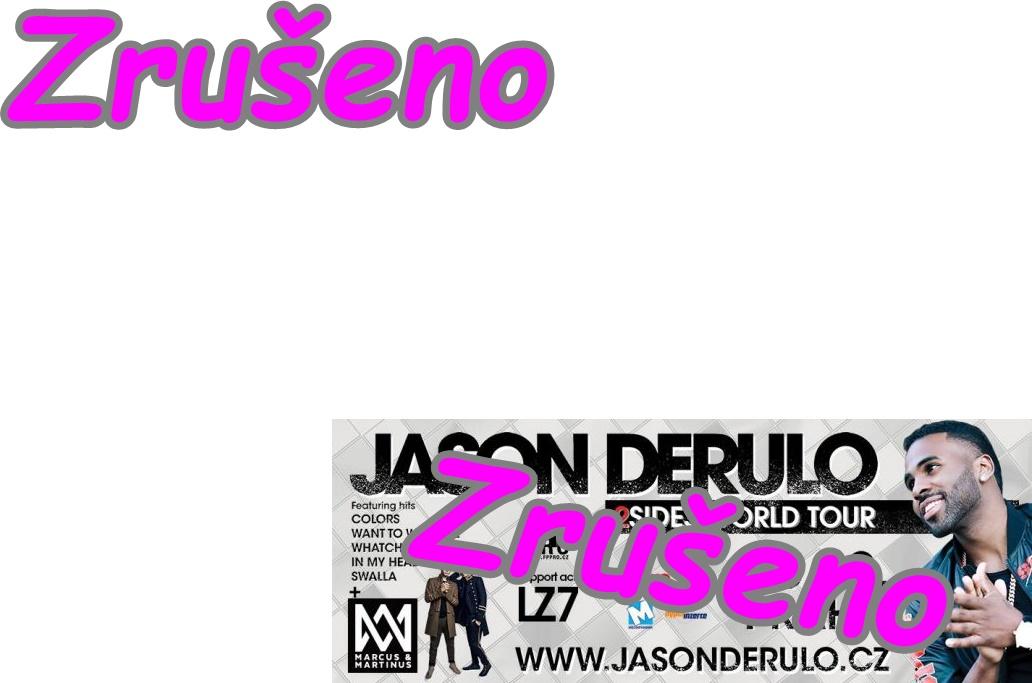 JASON DERULO - koncert ZRUŠEN.