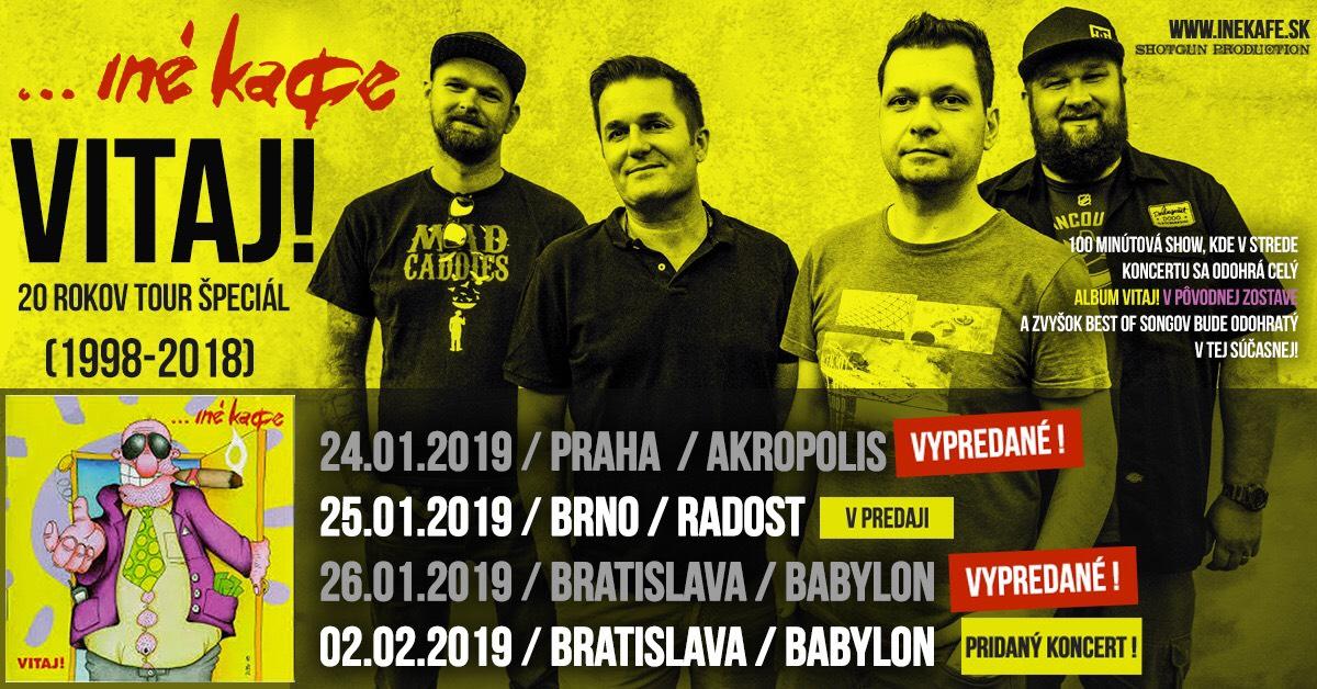 Iné Kafe oslaví dvacáté výročí prvního alba VITAJ! unikátním turné, v Bratislavě přidávají další koncert