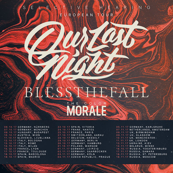 Our Last Night zveřejnili zastávky podzimního evropského turné!