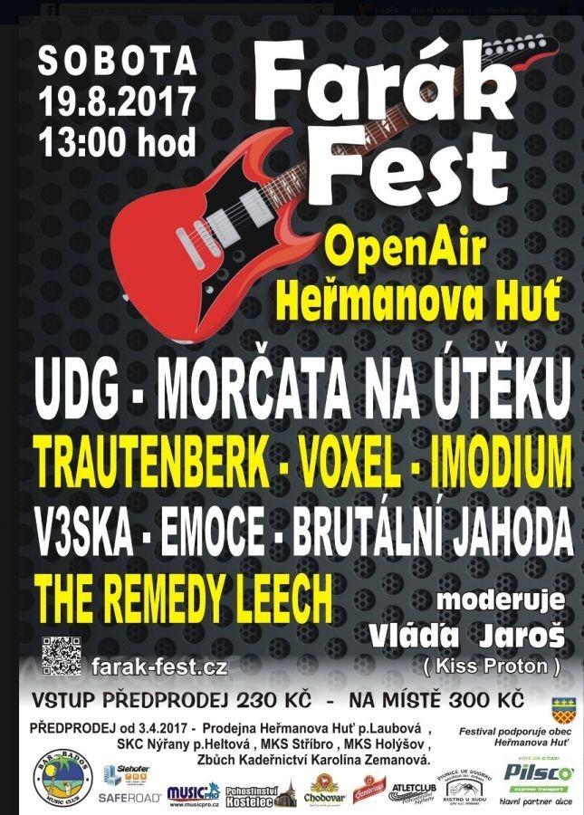Pozvánka na Farák Fest Open Air do Heřmanovy Hutě