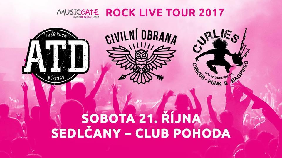 Soutěž o lístky na koncert skupin Civilní obrana, ATD, Curlies v rámci ROCK LIVE TOUR 2017 v Sedlčanech!