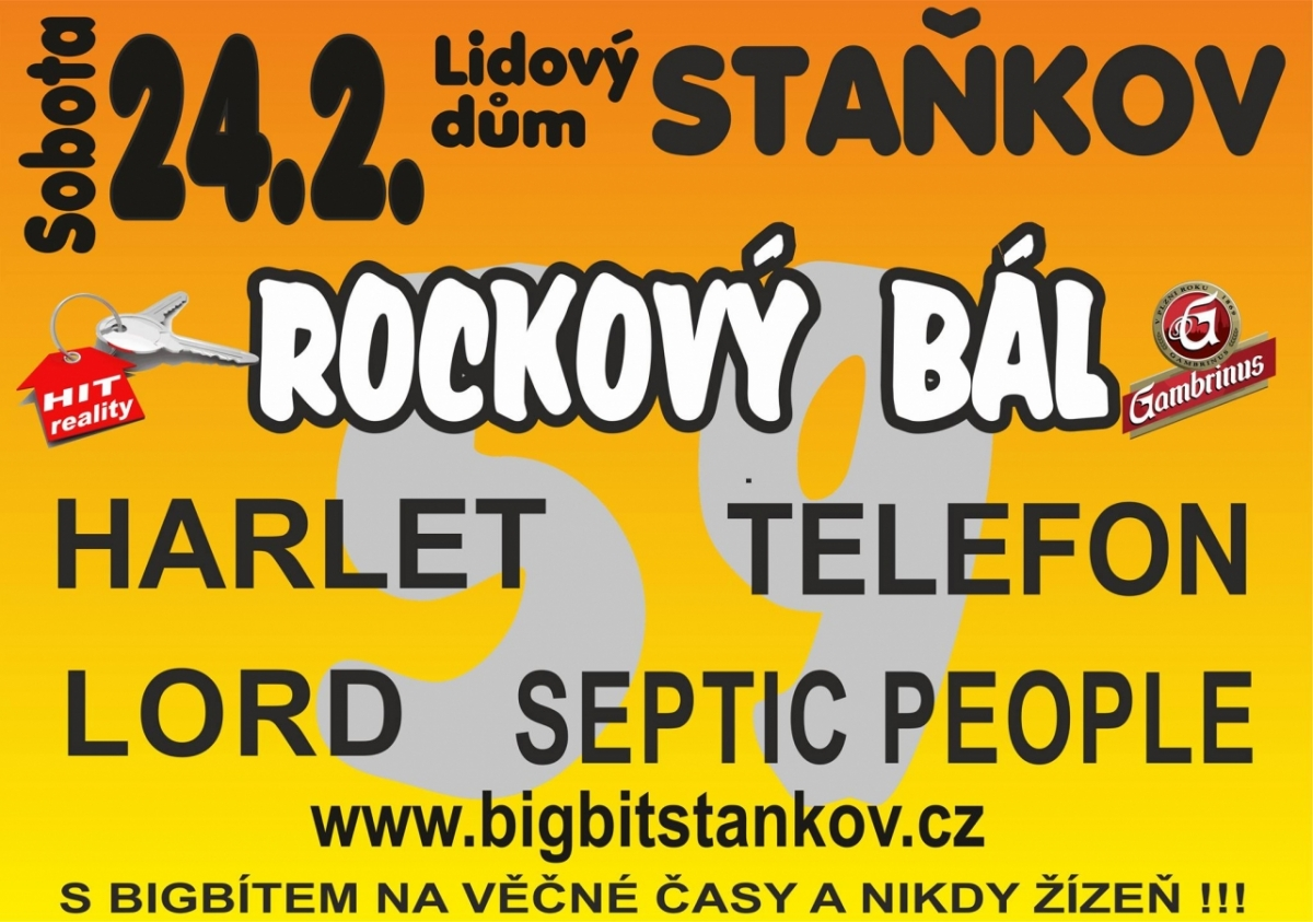 Smršť kapel Harlet, Septic People, Lord a Telefon rozpálí Rockový bál ve Staňkově!