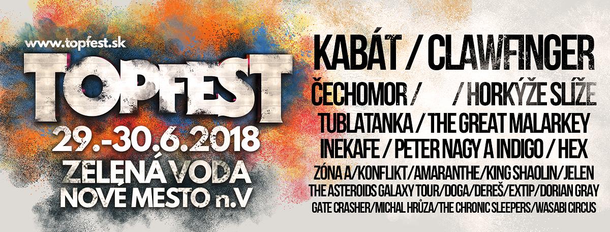 Festival TOPFEST se vrací ke kořenům,  na Zelenú vodu do Nového Mesta  nad Váhom!