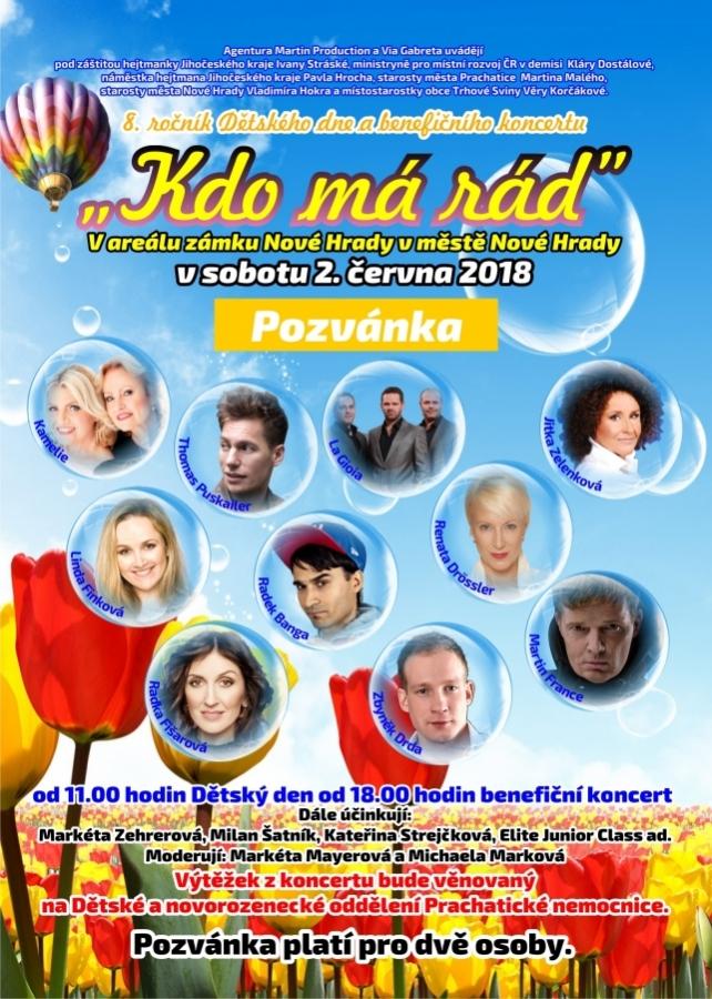 """""""Kdo má rád…"""" na zámku Nové Hrady                                              sobota 2. června 2018"""