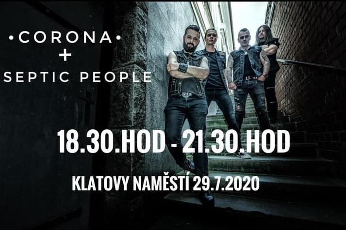 V rámci letních koncertů se na náměstí v Klatovech představí Corona s hostem Septic People