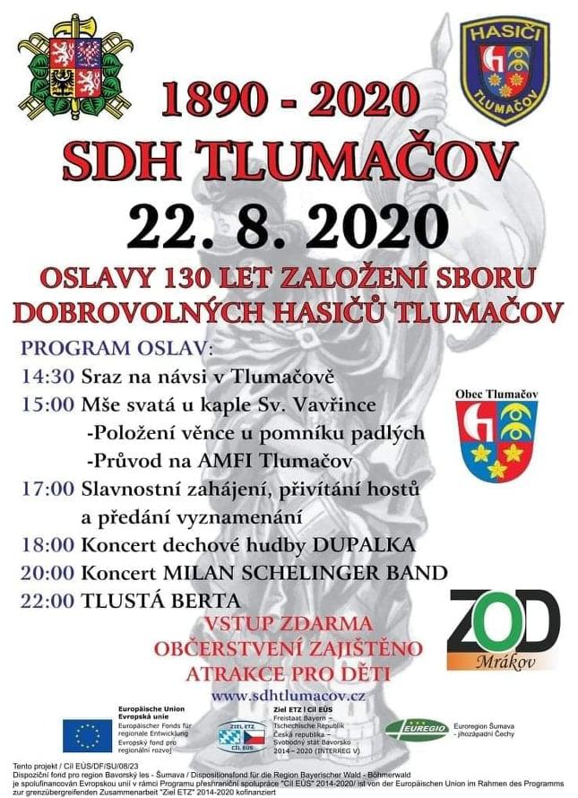 SDH Tlumačov oslaví 130 let ve velkém stylu, gratulanty bude Tlustá Berta, Milan Schelinger Band i Dupalka!