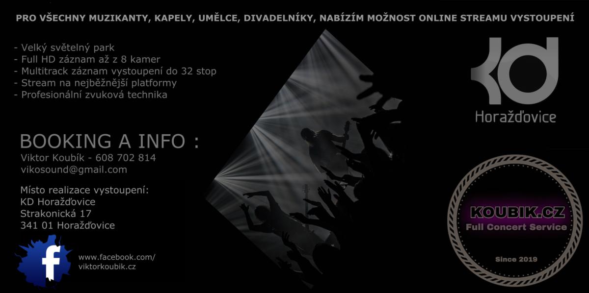 KD Horažďovice ožije online koncerty pod taktovkou zvukového mistra Viktora Koubíka!
