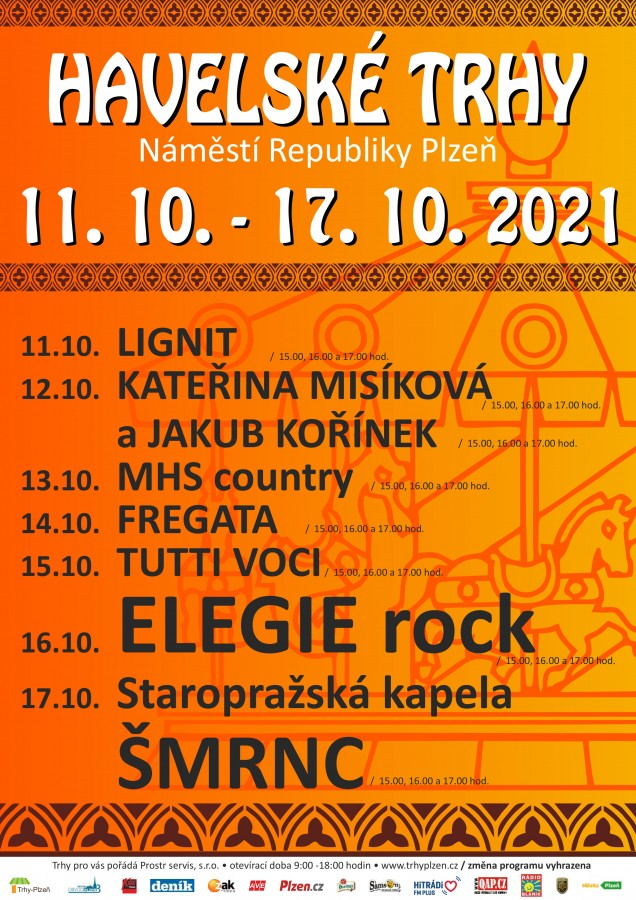 Plzeňské Havelské trhy budou mít bohatý kulturní program, v sobotu odpoledne zahraje kapela Elegie rock